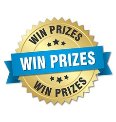 Win prizes 3d gold badge with blue ribbon vector
