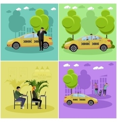 Set of taxi service company concept banners vector