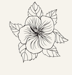 Hibiscus flower leaf for coloring book page vector