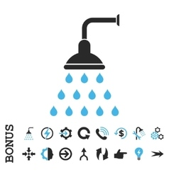 Shower flat icon with bonus vector