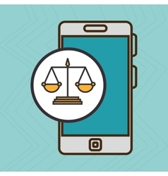 Smartphone and justice isolated icon design vector
