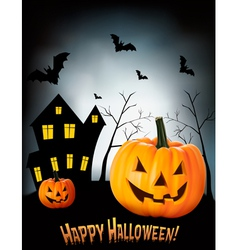 Halloween background with two pumpkins and house vector