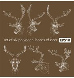A set of polygonal heads of deer vector image
