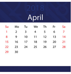 April 2018 calendar popular blue premium for vector