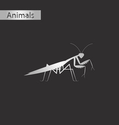 Black and white style icon of mantis vector
