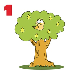 Cartoon bird in a tree vector image