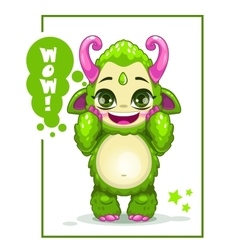 Cartoon cute green monster vector image vector image