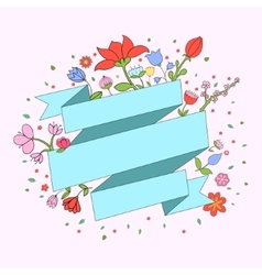 Color flowers ribbon frame for text placeholder vector