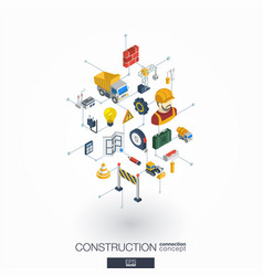 Construction integrated 3d web icons digital vector