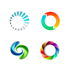 different round circle sign logo set vector image