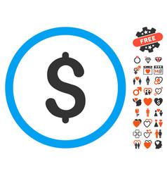 dollar icon with valentine bonus vector image vector image