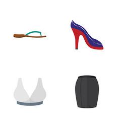 Flat dress set of brasserie beach sandal heeled vector