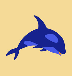 Flat icon on theme save whales killer whale vector