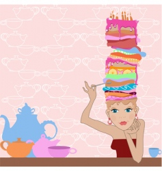 girl cake vector image vector image