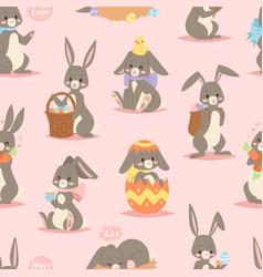 Happy adorable rabbit cartoon character cheerful vector