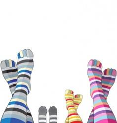 Happy family in stripy socks vector