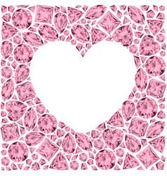 Heart frame made of pin gemstones vector