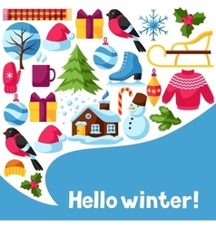Hello winter background Merry Christmas Happy vector image