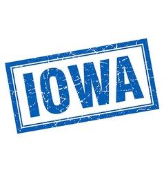 Iowa blue square grunge stamp on white vector