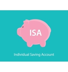 Isa individual saving account concept with piggy vector
