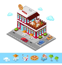 Isometric Pizzeria Modern Restaurant with Parking vector image vector image