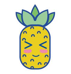 kawaii cute funny pineapple fruit vector image