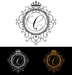Letter C Luxury Logo template flourishes vector image