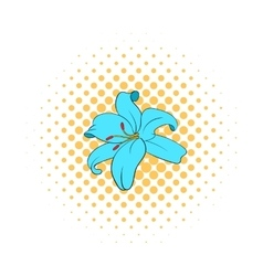 Lily flower icon comics style vector