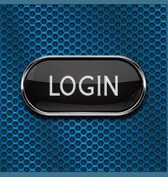 Login black oval button on blue perforated vector