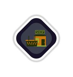 paper sticker on white background shop basket vector image vector image