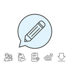 Pencil line icon edit sign vector