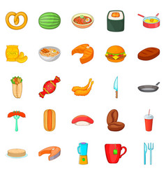 Rare food icons set cartoon style vector