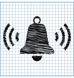 Ringing bell icon with pen effect on paper vector
