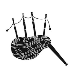 Scottish bagpipes icon in black style isolated on vector