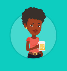 Woman drinking beer vector