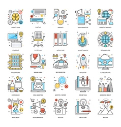 Flat color line icons 11 vector