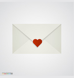 Letter with heart on white background vector