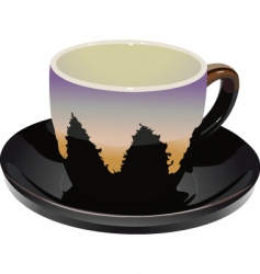 Cup and saucer vector