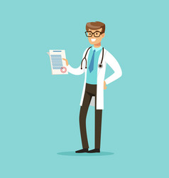 smiling doctor character standing and holding vector image