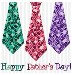 Bright happy fathers day neck tie card in format vector