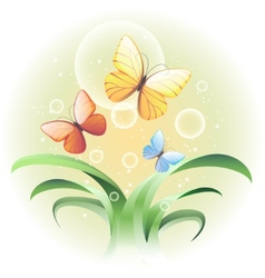 With a sprouts and butterflies vector