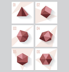 3d origami low polygon logo shapes vector