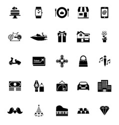 Birthday gift icons on white background vector