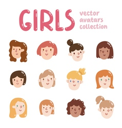 Girls colorful avatars collection vector