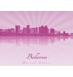 Bellevue skyline in purple radiant orchid vector