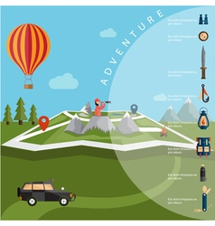 Flat design of explorer with spyglass and balloon vector