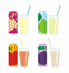Isolated juice cans and glasses vector
