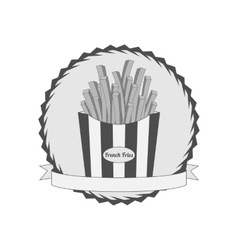 Graphic label with french fries vector