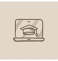 Laptop with graduation cap on screen sketch icon vector