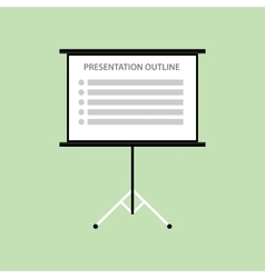 Presentation board with outline list green vector